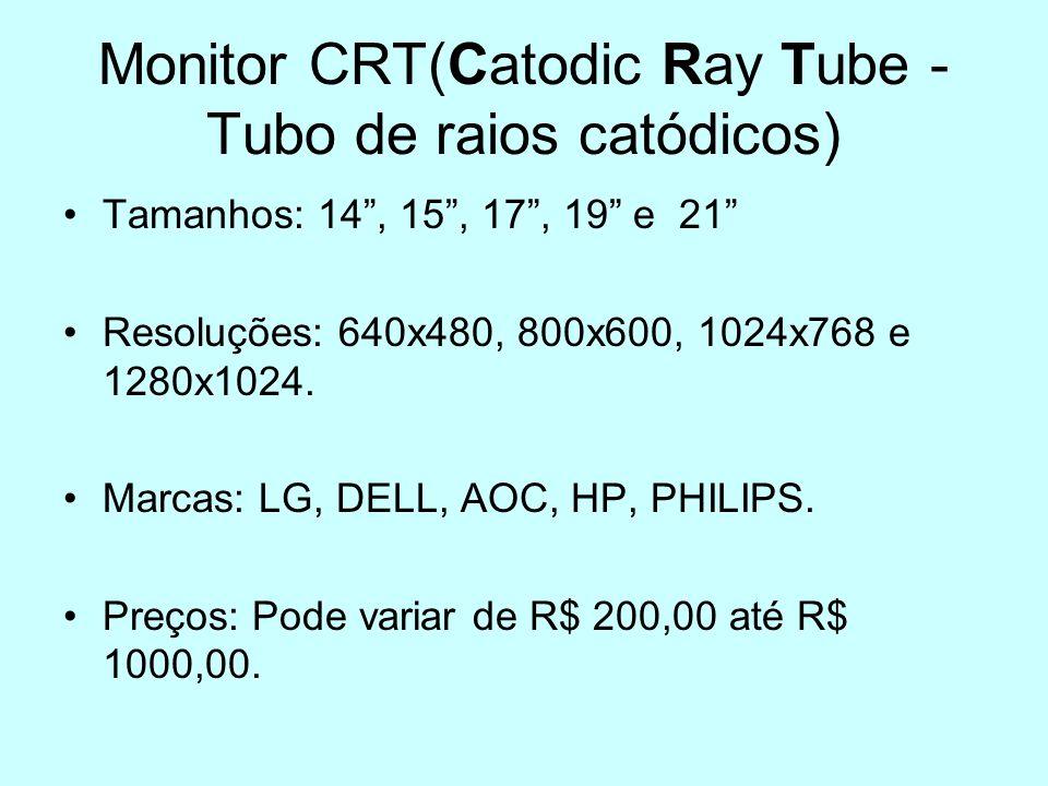 Monitor CRT(Catodic Ray Tube - Tubo de raios catódicos) Tamanhos: 14, 15, 17, 19 e 21 Resoluções: 640x480, 800x600, 1024x768 e 1280x1024. Marcas: LG,