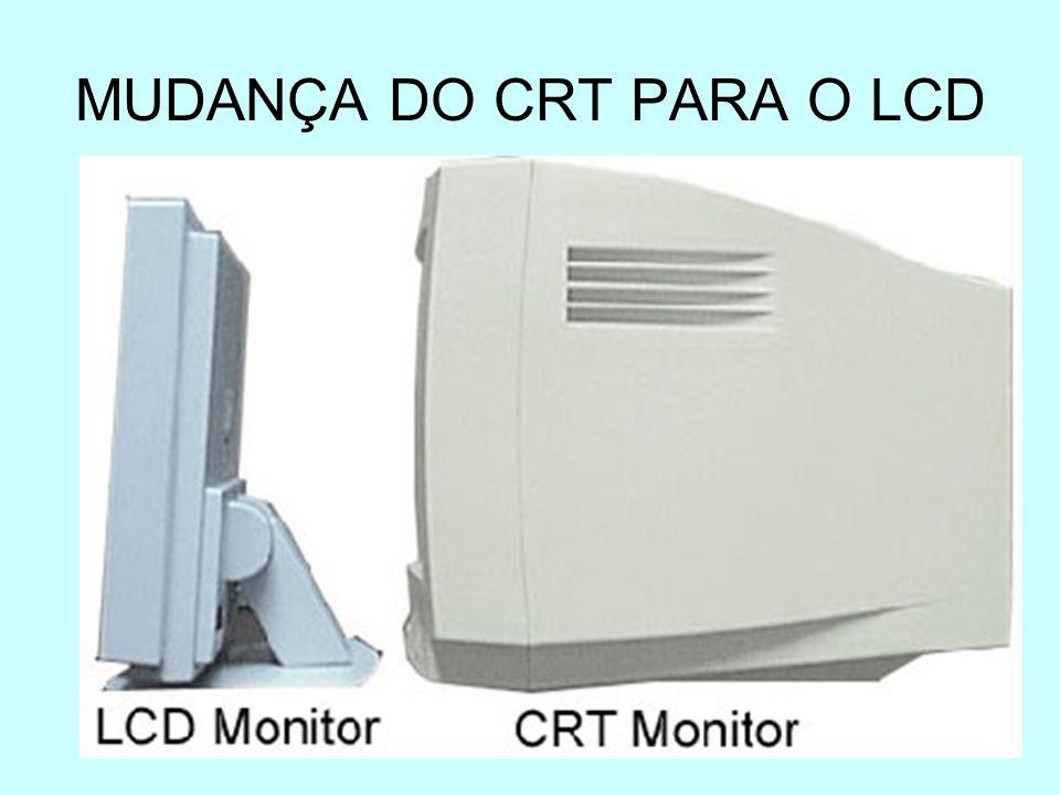 Monitor LCD(Liquid Crystal Display- Monitores de cristal líquido) Tamanhos: 14,15,17 e 19 Tipos: TN (Twisted Nematic): imagem prejudicada em animações muito rápidas.