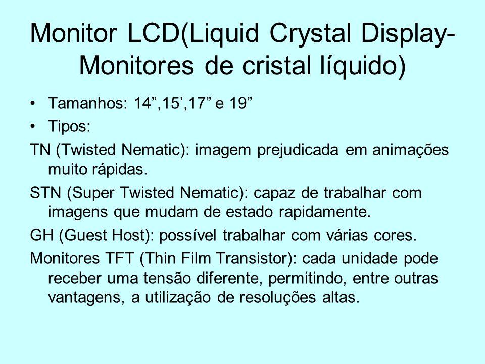 Monitor LCD(Liquid Crystal Display- Monitores de cristal líquido) Tamanhos: 14,15,17 e 19 Tipos: TN (Twisted Nematic): imagem prejudicada em animações