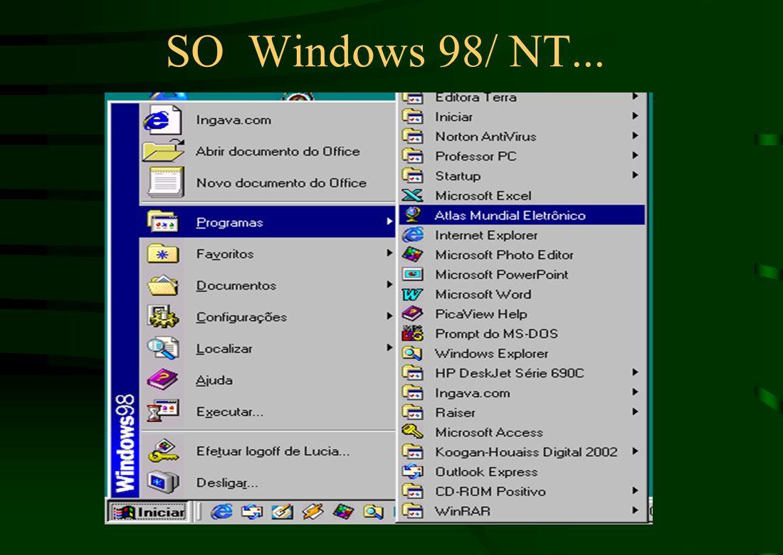 Pof. Marcelo Windows NT Possui o mesmo aspecto e modo de utilização que os sistemas operacionais Windows 95/98. Fornece um conjunto completo de ferram