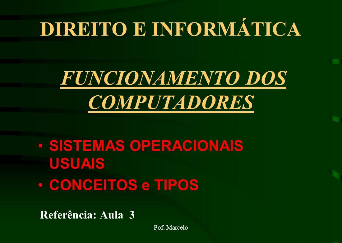 DIREITO E INFORMÁTICA FUNCIONAMENTO DOS COMPUTADORES SISTEMAS OPERACIONAIS USUAIS CONCEITOS e TIPOS Referência: Aula 3