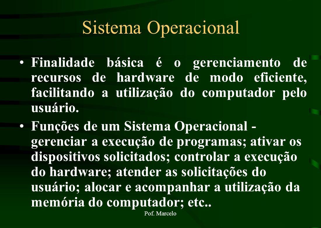 Pof. Marcelo Sistema Operacional - SO S.O Como falar com o Computador? É o sistema operacional que promove a comunicação do usuário com o computador.