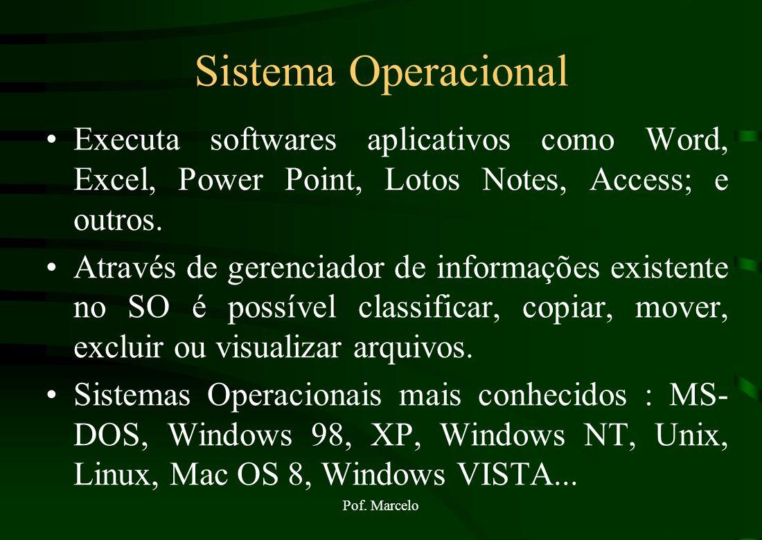 Pof. Marcelo Representação Gráfica do Funcionamento de um SO Aplicativos word, excel, internet explorer, Memória RAM Sistema Operacional Hardware driv