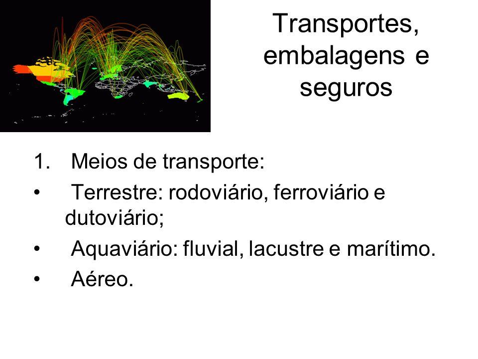 Transportes, embalagens e seguros 1. Meios de transporte: Terrestre: rodoviário, ferroviário e dutoviário; Aquaviário: fluvial, lacustre e marítimo. A
