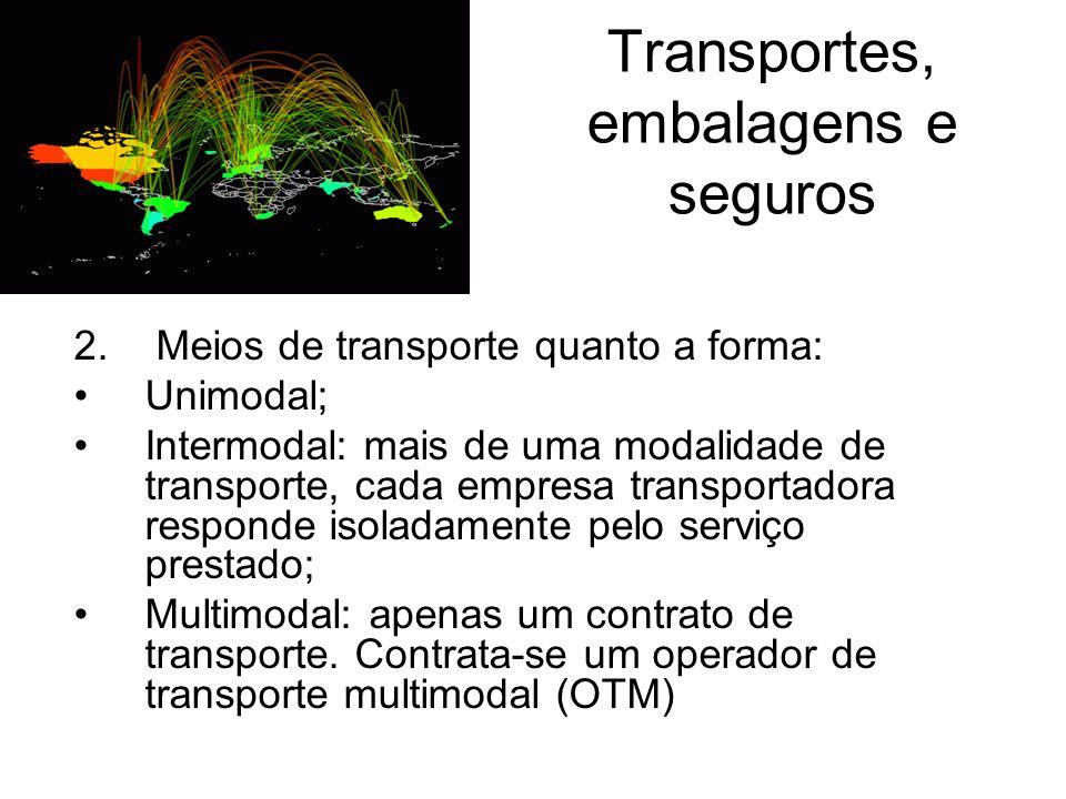 Transportes, embalagens e seguros 2. Meios de transporte quanto a forma: Unimodal; Intermodal: mais de uma modalidade de transporte, cada empresa tran