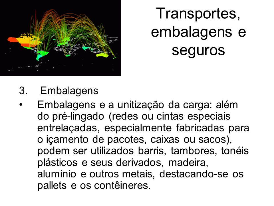 Transportes, embalagens e seguros 3. Embalagens Embalagens e a unitização da carga: além do pré-lingado (redes ou cintas especiais entrelaçadas, espec