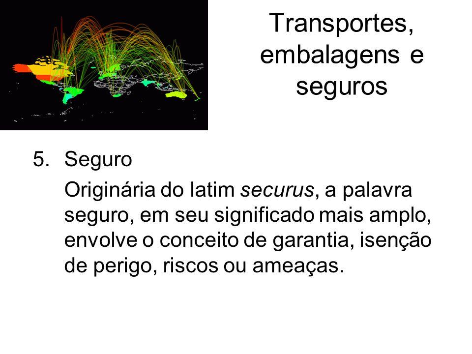 Transportes, embalagens e seguros 5.Seguro Originária do latim securus, a palavra seguro, em seu significado mais amplo, envolve o conceito de garanti