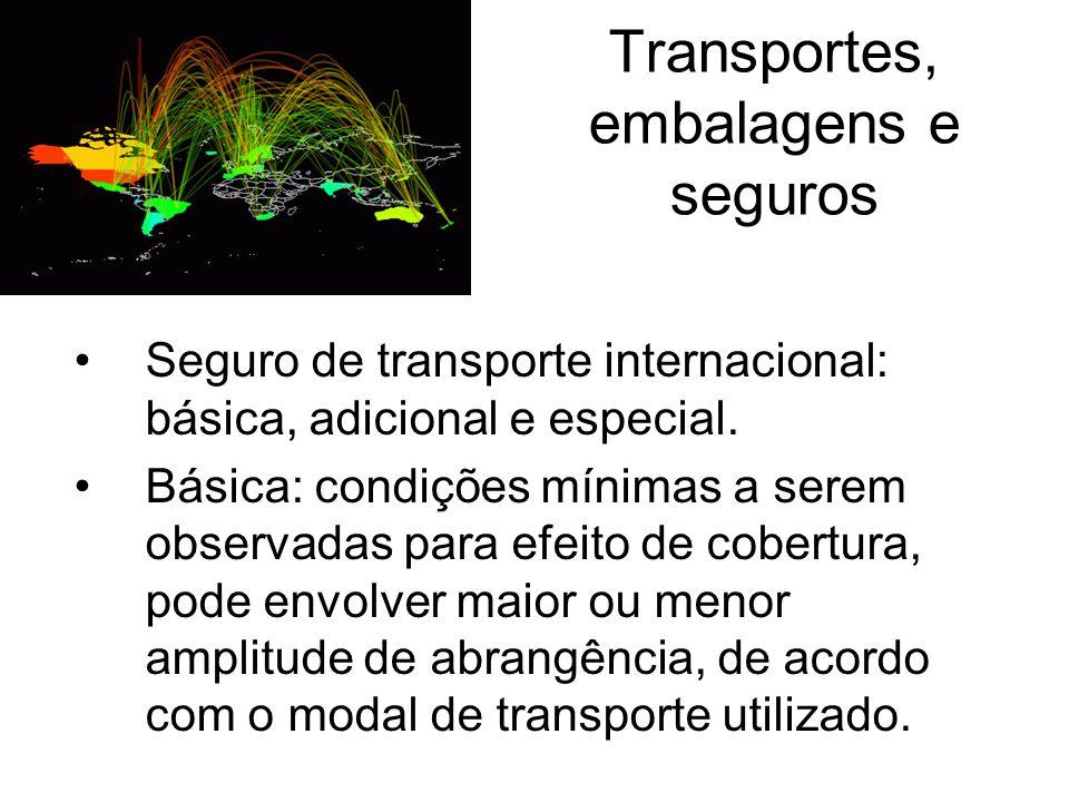 Transportes, embalagens e seguros Seguro de transporte internacional: básica, adicional e especial. Básica: condições mínimas a serem observadas para