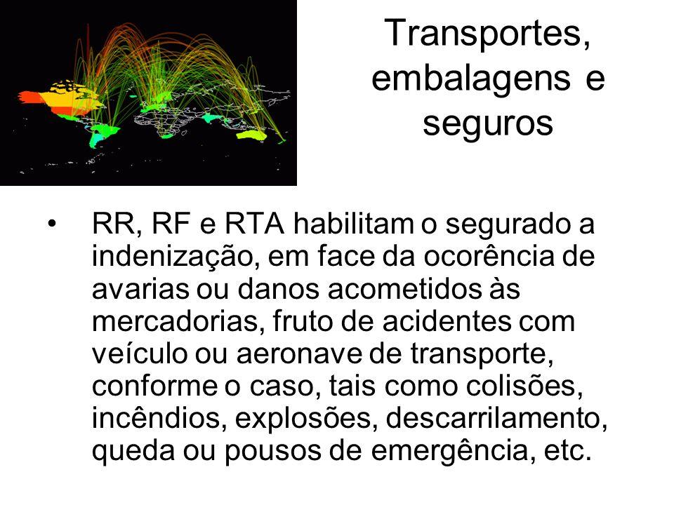 Transportes, embalagens e seguros RR, RF e RTA habilitam o segurado a indenização, em face da ocorência de avarias ou danos acometidos às mercadorias,