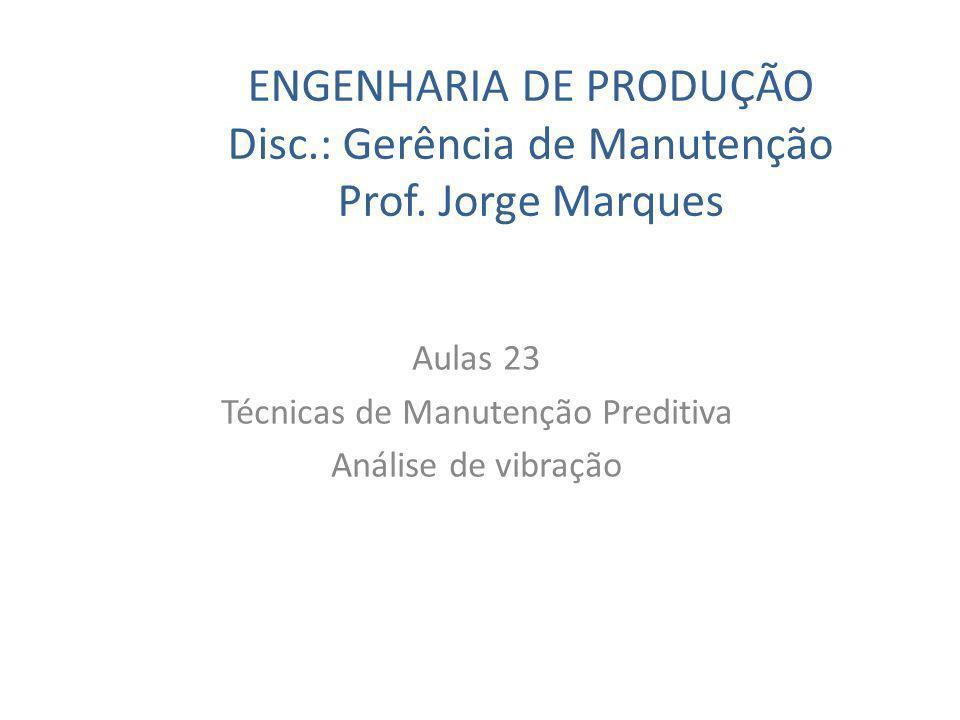 ENGENHARIA DE PRODUÇÃO Disc.: Gerência de Manutenção Prof. Jorge Marques Aulas 23 Técnicas de Manutenção Preditiva Análise de vibração
