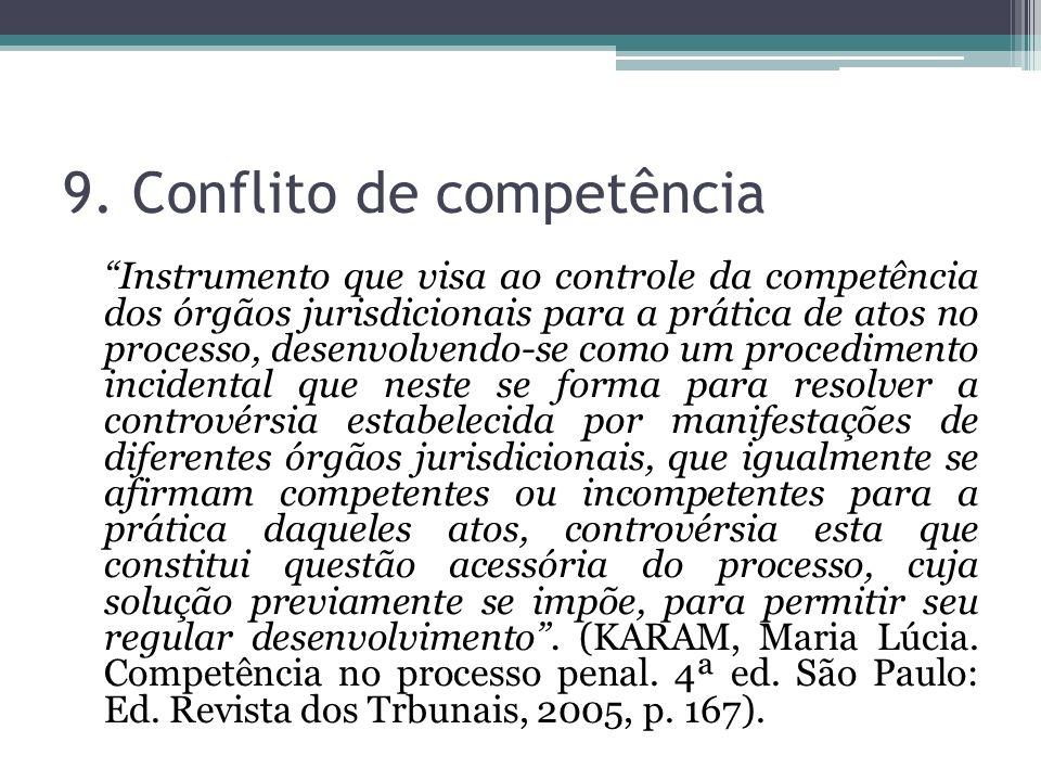 9. Conflito de competência Instrumento que visa ao controle da competência dos órgãos jurisdicionais para a prática de atos no processo, desenvolvendo