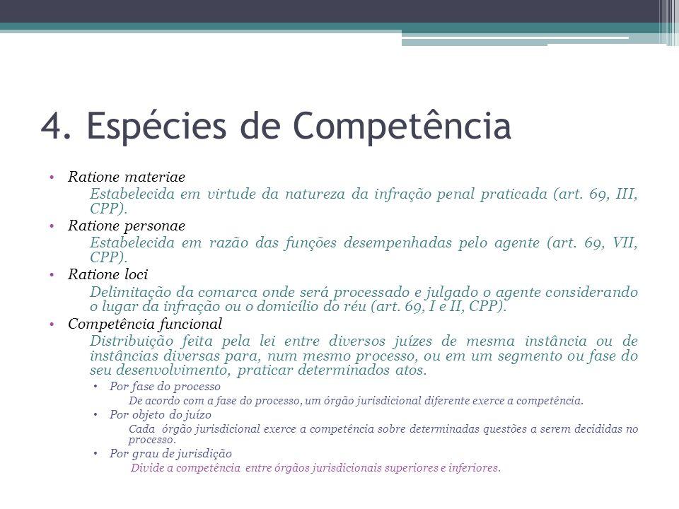 4. Espécies de Competência Ratione materiae Estabelecida em virtude da natureza da infração penal praticada (art. 69, III, CPP). Ratione personae Esta