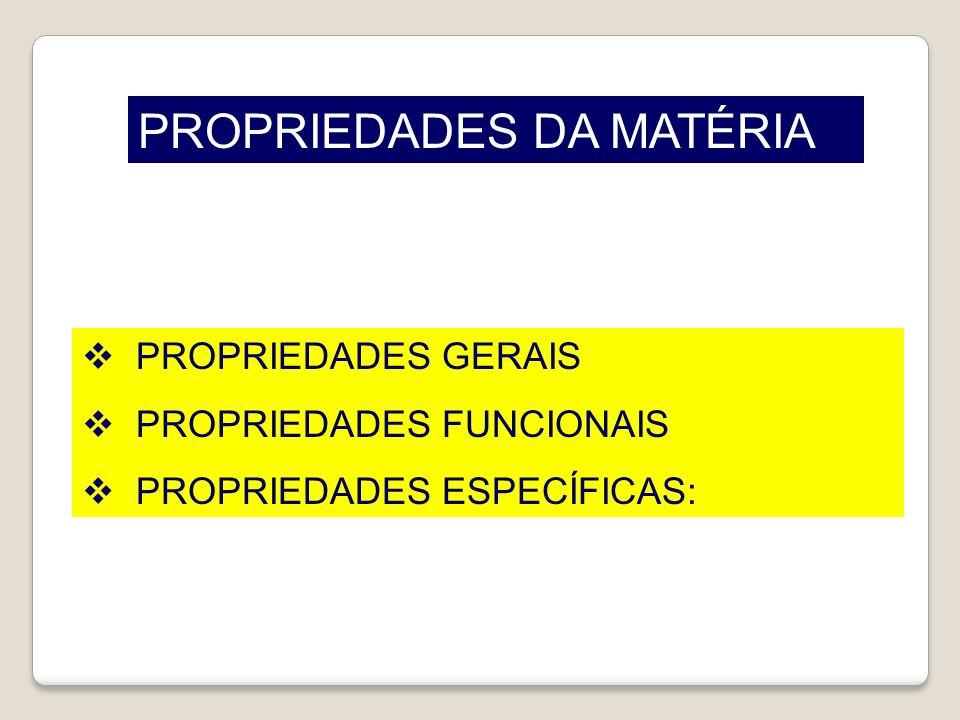 PROPRIEDADES DA MATÉRIA PROPRIEDADES GERAIS PROPRIEDADES FUNCIONAIS PROPRIEDADES ESPECÍFICAS: