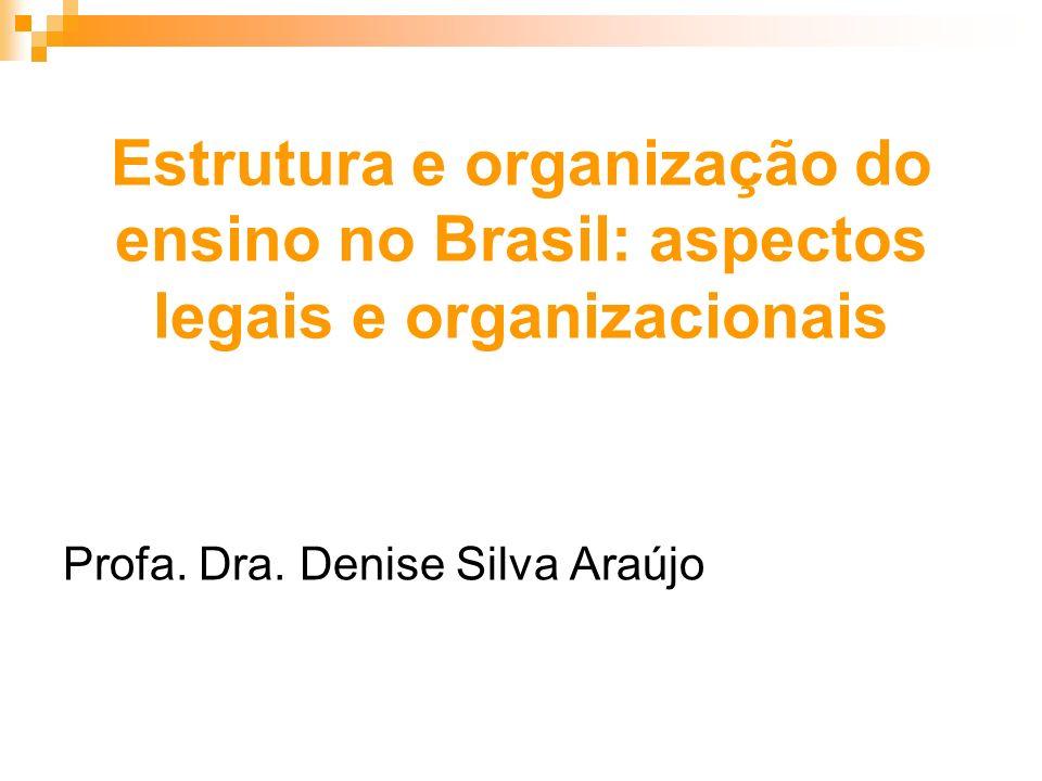 Estrutura e organização do ensino no Brasil: aspectos legais e organizacionais Profa. Dra. Denise Silva Araújo