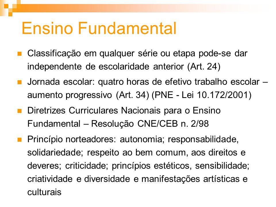 Ensino Fundamental Classificação em qualquer série ou etapa pode-se dar independente de escolaridade anterior (Art. 24) Jornada escolar: quatro horas