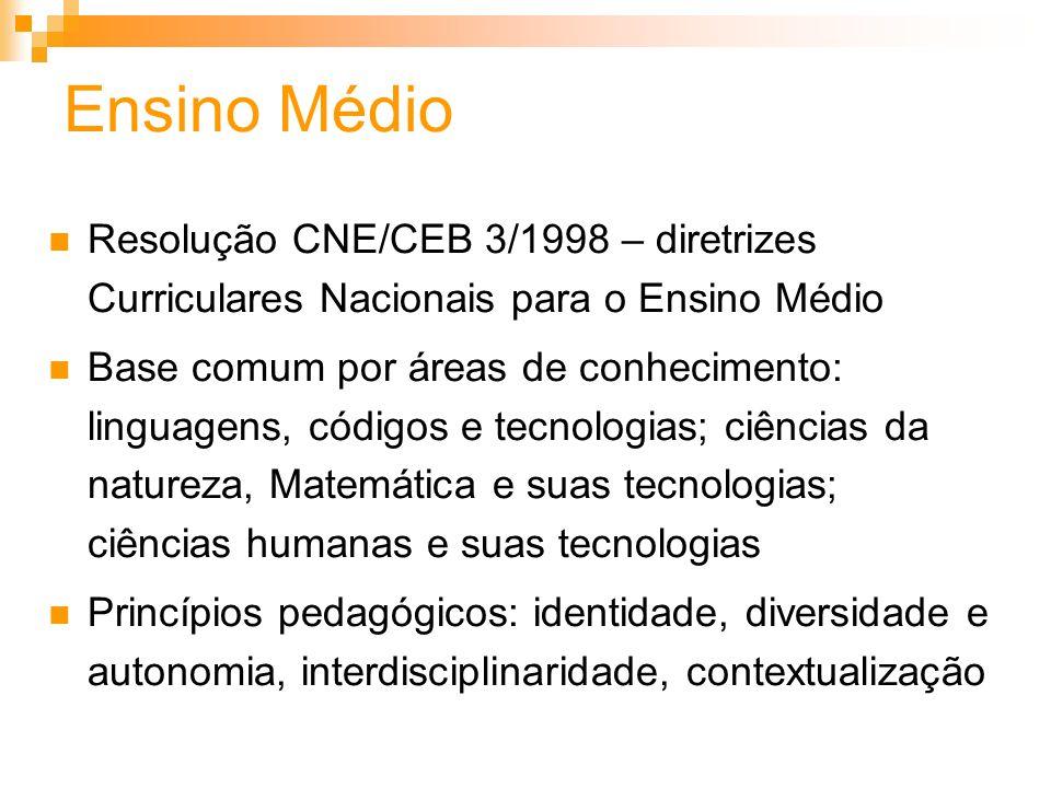 Ensino Médio Resolução CNE/CEB 3/1998 – diretrizes Curriculares Nacionais para o Ensino Médio Base comum por áreas de conhecimento: linguagens, código