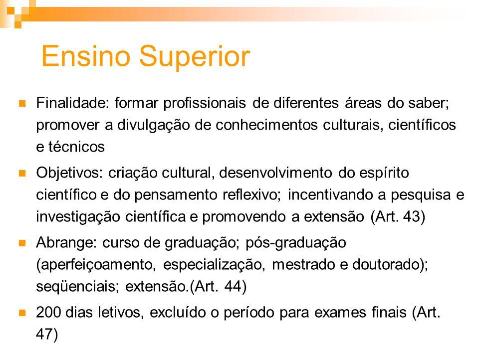 Ensino Superior Finalidade: formar profissionais de diferentes áreas do saber; promover a divulgação de conhecimentos culturais, científicos e técnico
