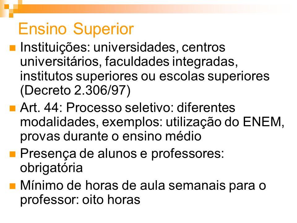 Ensino Superior Instituições: universidades, centros universitários, faculdades integradas, institutos superiores ou escolas superiores (Decreto 2.306