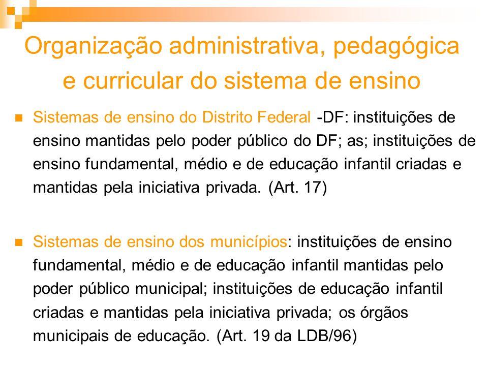 Organização administrativa, pedagógica e curricular do sistema de ensino Sistemas de ensino do Distrito Federal -DF: instituições de ensino mantidas p