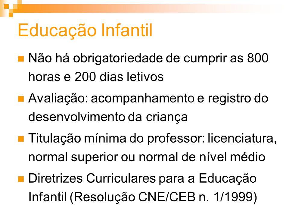Educação Infantil Não há obrigatoriedade de cumprir as 800 horas e 200 dias letivos Avaliação: acompanhamento e registro do desenvolvimento da criança