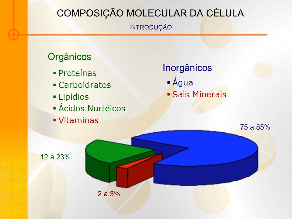 COMPOSIÇÃO MOLECULAR DA CÉLULA INTRODUÇÃO Água Sais Minerais Proteínas Carboidratos Lipídios Ácidos Nucléicos Vitaminas Inorgânicos Orgânicos 75 a 85%