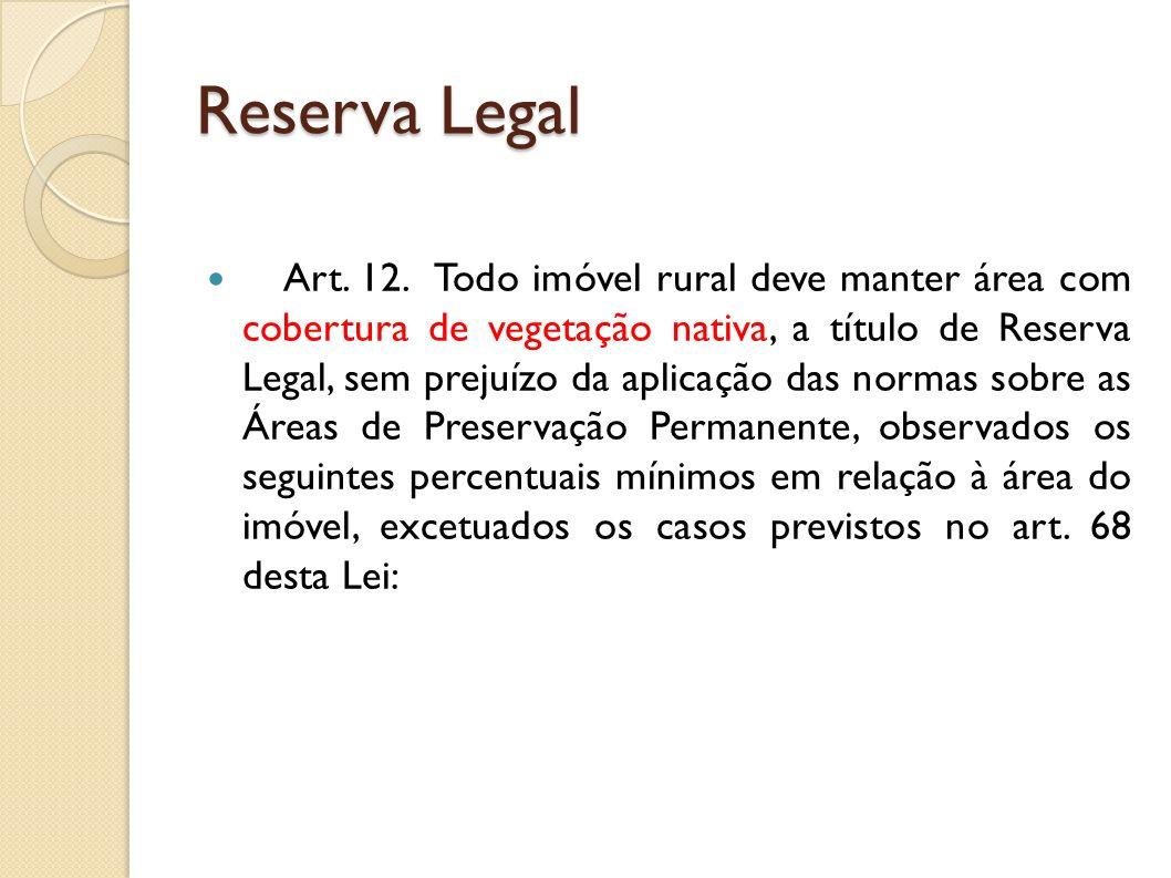 Art. 12. Todo imóvel rural deve manter área com cobertura de vegetação nativa, a título de Reserva Legal, sem prejuízo da aplicação das normas sobre a