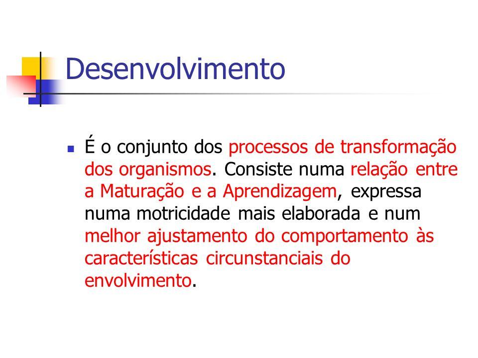 Desenvolvimento É o conjunto dos processos de transformação dos organismos. Consiste numa relação entre a Maturação e a Aprendizagem, expressa numa mo