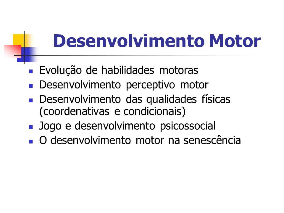 Desenvolvimento Motor Evolução de habilidades motoras Desenvolvimento perceptivo motor Desenvolvimento das qualidades físicas (coordenativas e condici