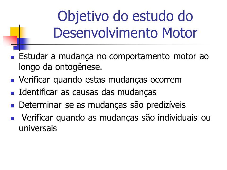 Objetivo do estudo do Desenvolvimento Motor Estudar a mudança no comportamento motor ao longo da ontogênese. Verificar quando estas mudanças ocorrem I