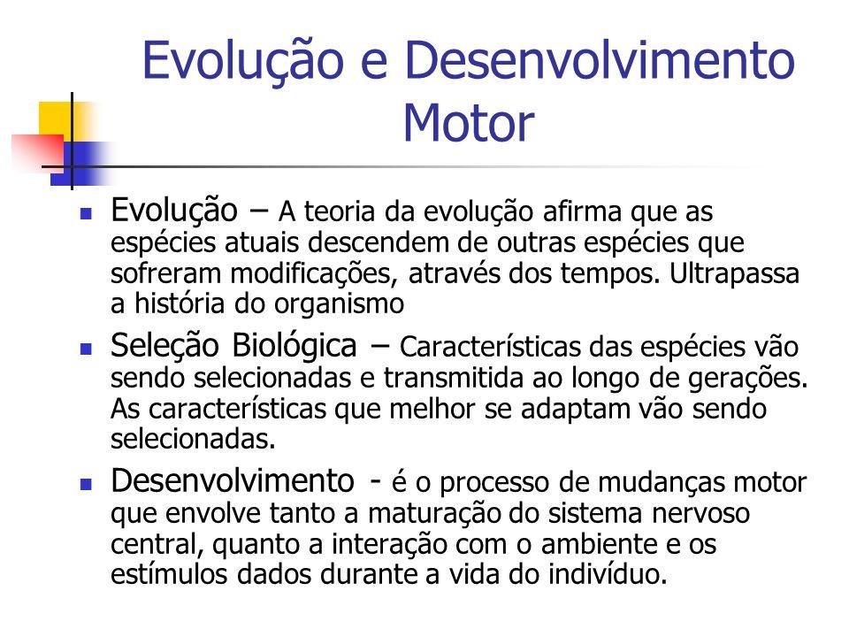 Evolução e Desenvolvimento Motor Evolução – A teoria da evolução afirma que as espécies atuais descendem de outras espécies que sofreram modificações,