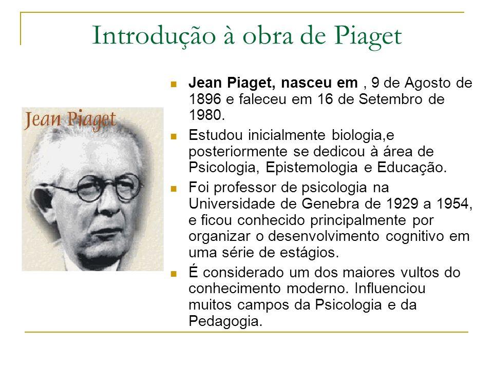 Introdução à obra de Piaget Jean Piaget, nasceu em, 9 de Agosto de 1896 e faleceu em 16 de Setembro de 1980. Estudou inicialmente biologia,e posterior