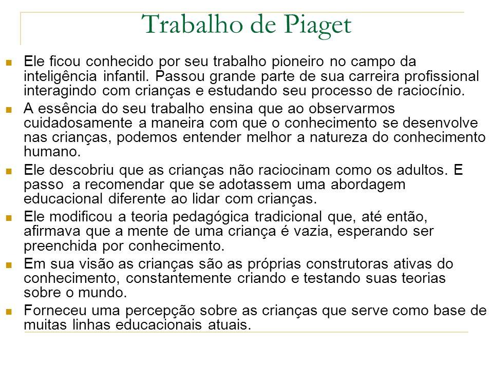 Trabalho de Piaget Ele ficou conhecido por seu trabalho pioneiro no campo da inteligência infantil. Passou grande parte de sua carreira profissional i