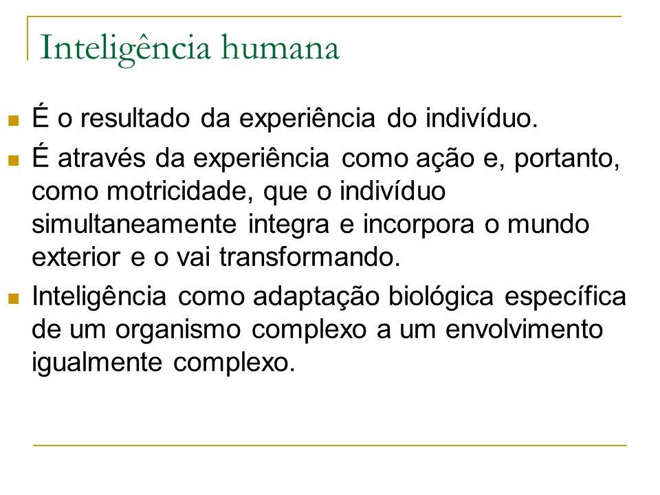Inteligência humana É o resultado da experiência do indivíduo. É através da experiência como ação e, portanto, como motricidade, que o indivíduo simul