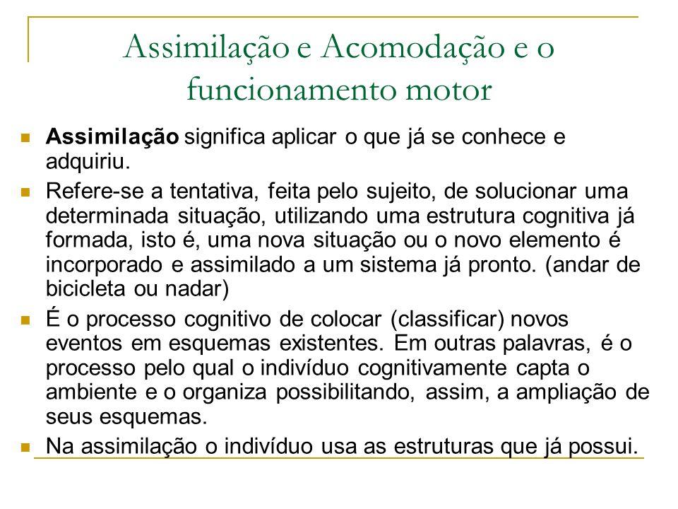 Assimilação e Acomodação e o funcionamento motor Assimilação significa aplicar o que já se conhece e adquiriu. Refere-se a tentativa, feita pelo sujei
