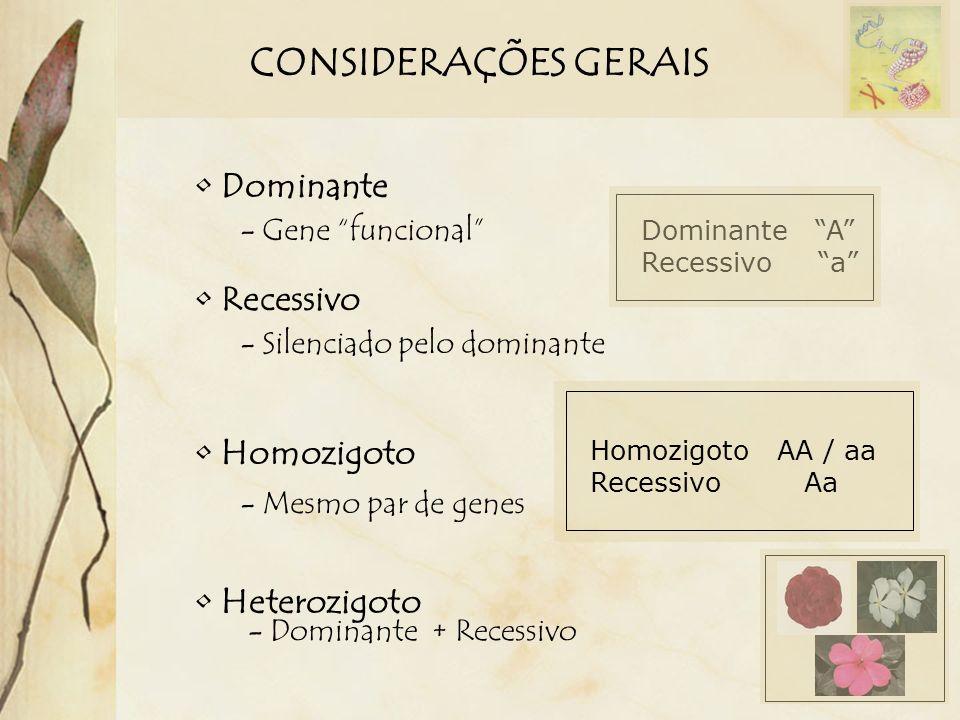 CONSIDERAÇÕES GERAIS Dominante - Gene funcional Recessivo - Silenciado pelo dominante Dominante A Recessivo a Homozigoto - Mesmo par de genes Heterozi