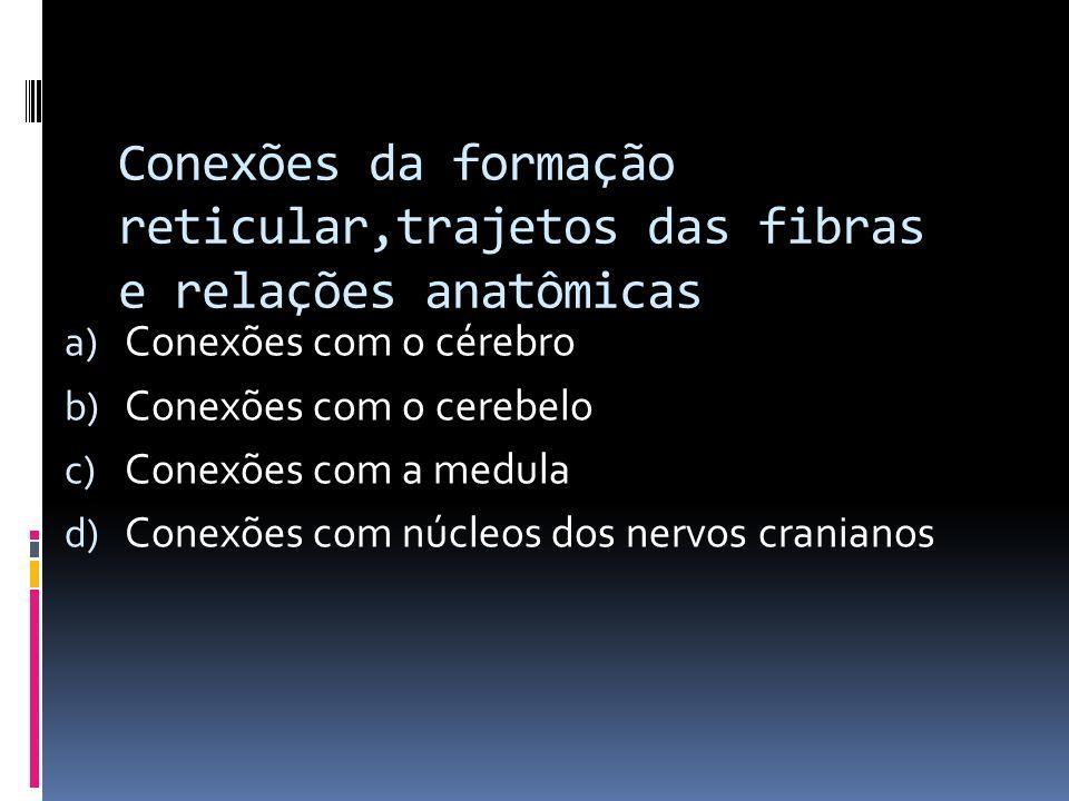 Conexões da formação reticular,trajetos das fibras e relações anatômicas a) Conexões com o cérebro b) Conexões com o cerebelo c) Conexões com a medula