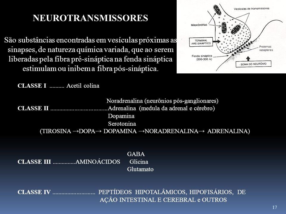 17 NEUROTRANSMISSORES São substâncias encontradas em vesículas próximas as sinapses, de natureza química variada, que ao serem liberadas pela fibra pr