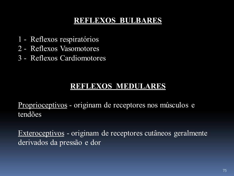 75 REFLEXOS BULBARES 1 - Reflexos respiratórios 2 - Reflexos Vasomotores 3 - Reflexos Cardiomotores REFLEXOS MEDULARES Proprioceptivos - originam de r