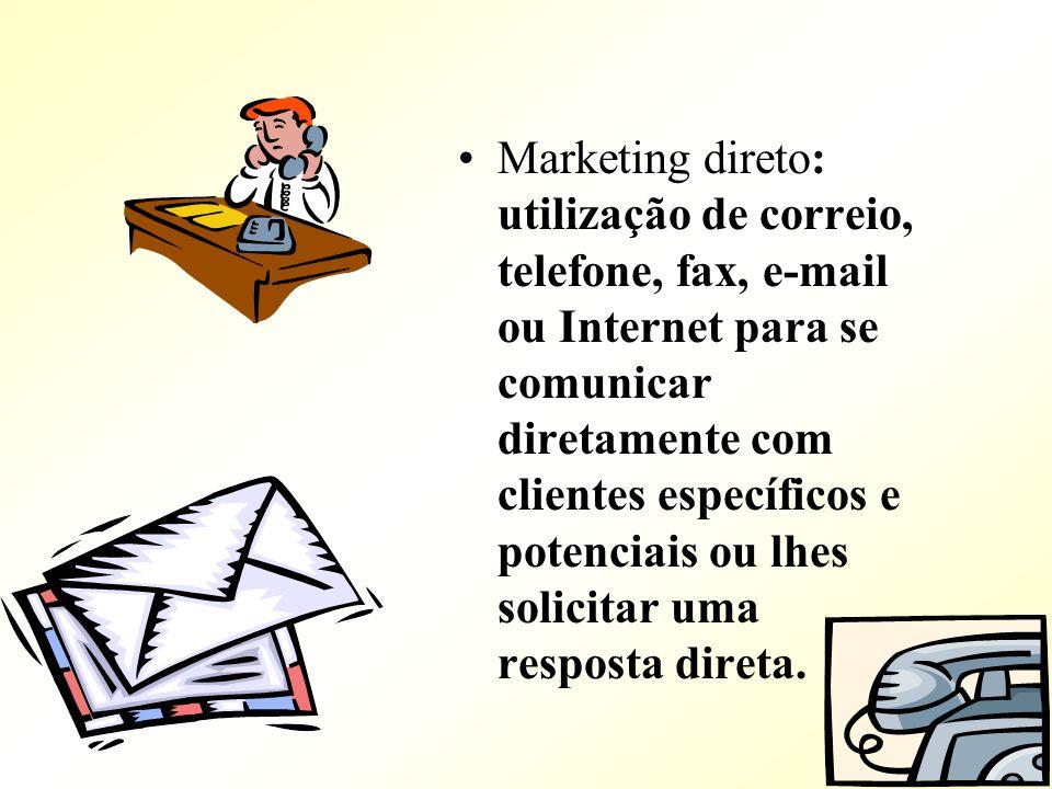 Marketing direto: utilização de correio, telefone, fax, e-mail ou Internet para se comunicar diretamente com clientes específicos e potenciais ou lhes
