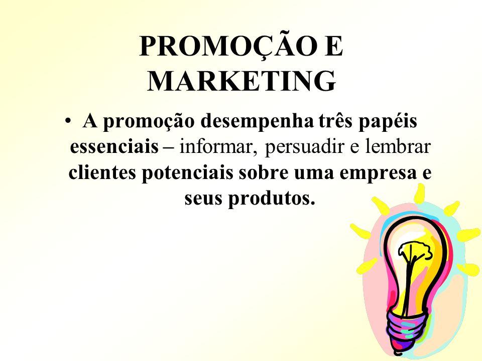 PROMOÇÃO E MARKETING A promoção desempenha três papéis essenciais – informar, persuadir e lembrar clientes potenciais sobre uma empresa e seus produto