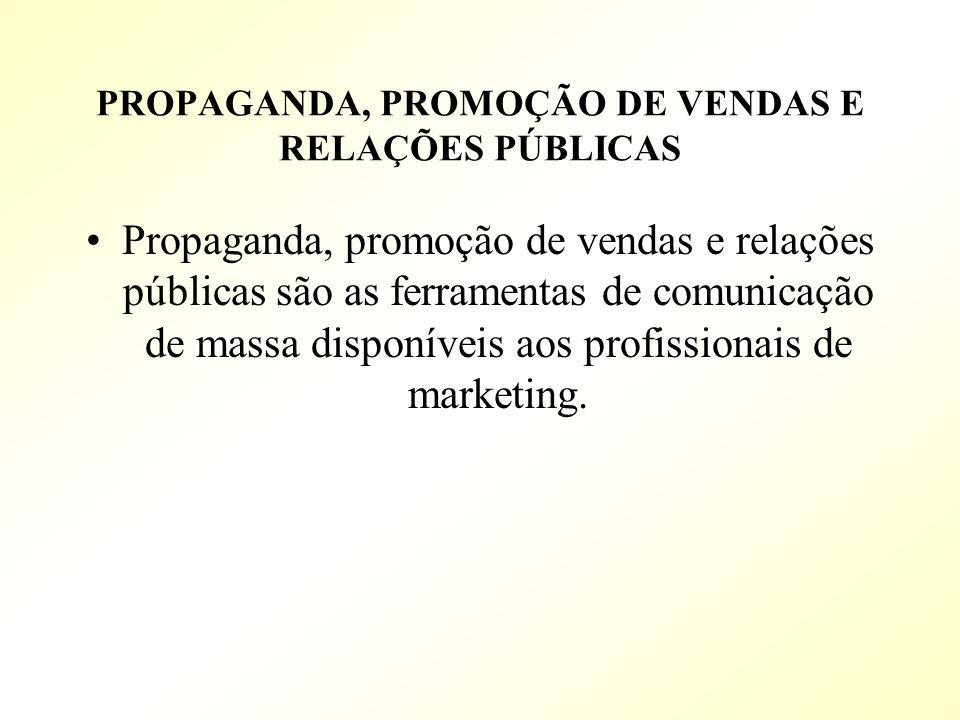 PROPAGANDA, PROMOÇÃO DE VENDAS E RELAÇÕES PÚBLICAS Propaganda, promoção de vendas e relações públicas são as ferramentas de comunicação de massa dispo