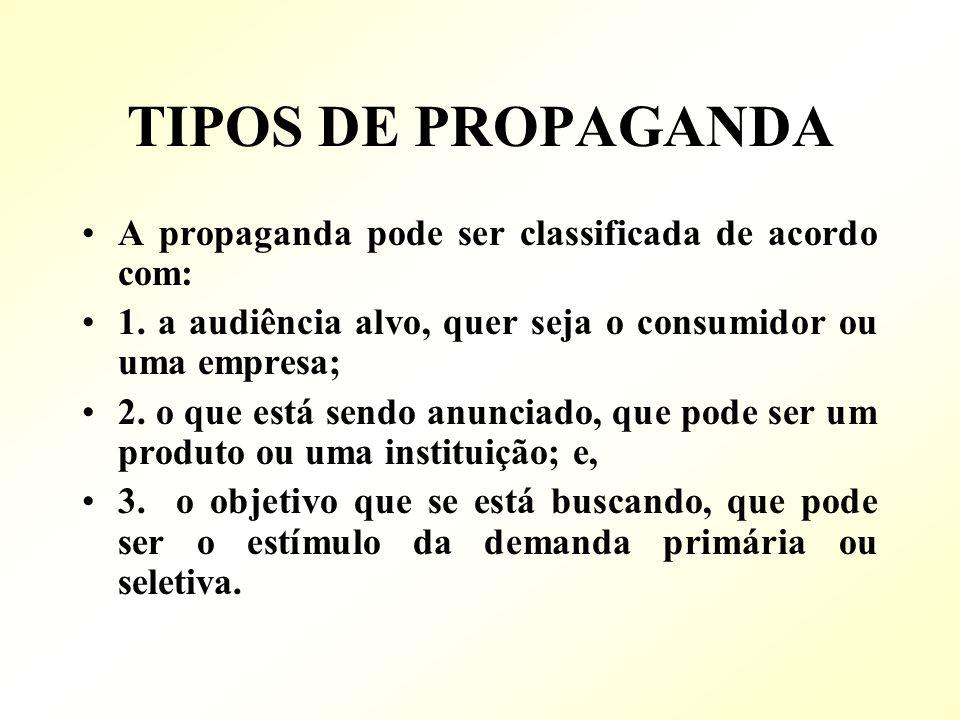 TIPOS DE PROPAGANDA A propaganda pode ser classificada de acordo com: 1. a audiência alvo, quer seja o consumidor ou uma empresa; 2. o que está sendo