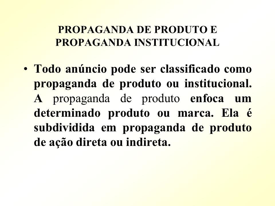 PROPAGANDA DE PRODUTO E PROPAGANDA INSTITUCIONAL Todo anúncio pode ser classificado como propaganda de produto ou institucional. A propaganda de produ
