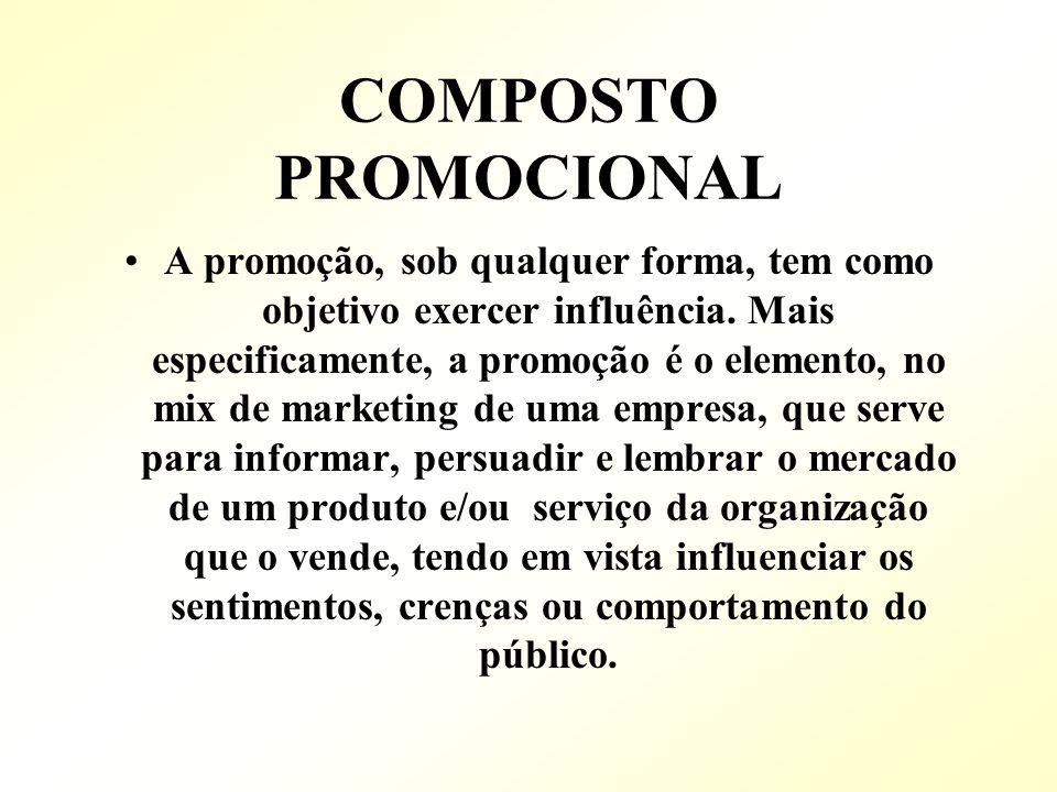 COMPOSTO PROMOCIONAL A promoção, sob qualquer forma, tem como objetivo exercer influência. Mais especificamente, a promoção é o elemento, no mix de ma