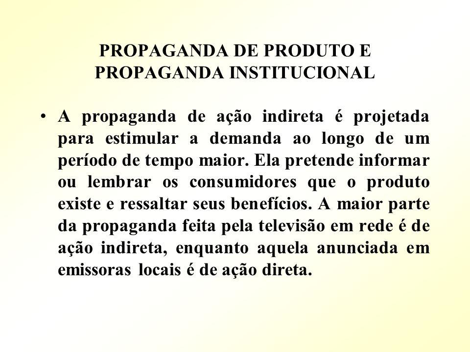 PROPAGANDA DE PRODUTO E PROPAGANDA INSTITUCIONAL A propaganda de ação indireta é projetada para estimular a demanda ao longo de um período de tempo ma