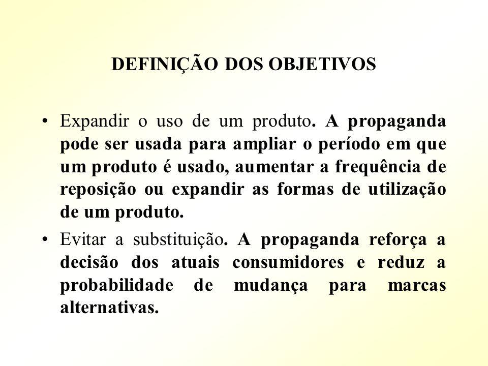 DEFINIÇÃO DOS OBJETIVOS Expandir o uso de um produto. A propaganda pode ser usada para ampliar o período em que um produto é usado, aumentar a frequên
