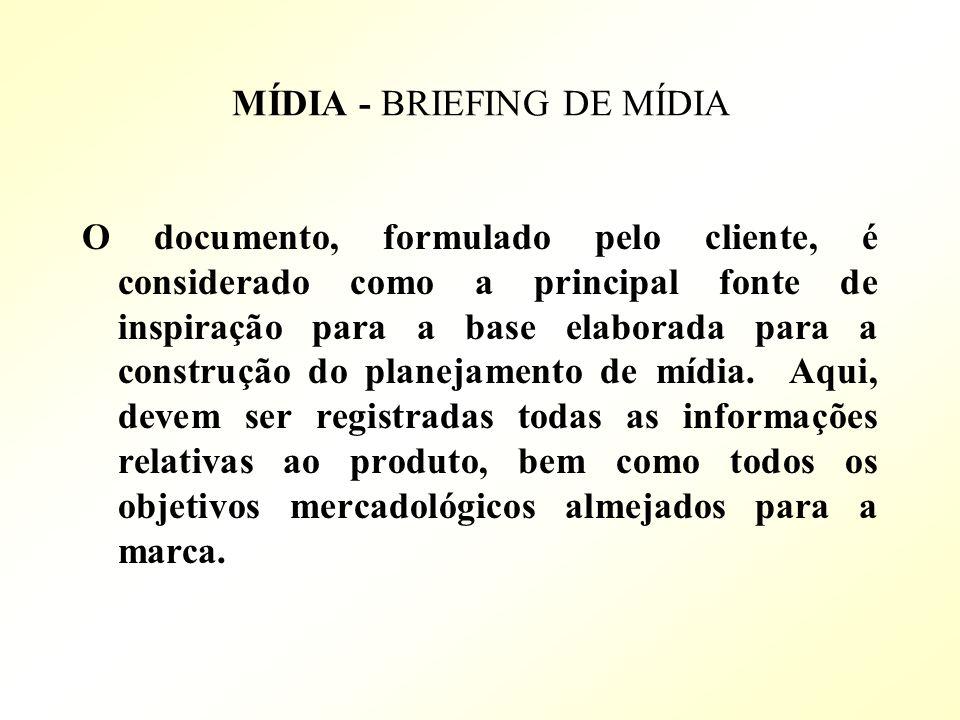 MÍDIA - BRIEFING DE MÍDIA O documento, formulado pelo cliente, é considerado como a principal fonte de inspiração para a base elaborada para a constru