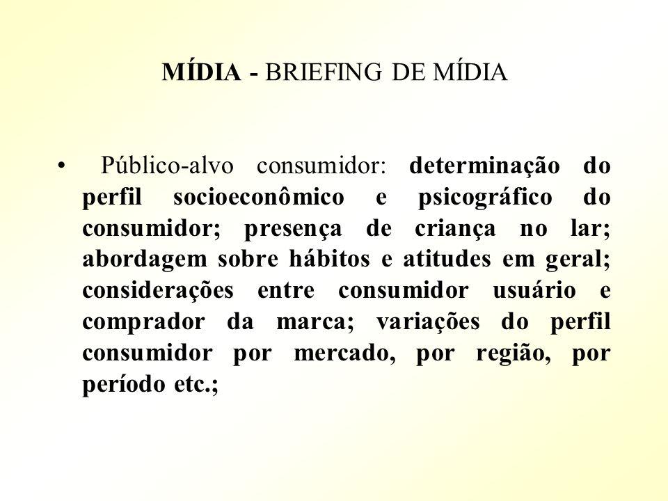 MÍDIA - BRIEFING DE MÍDIA Público-alvo consumidor: determinação do perfil socioeconômico e psicográfico do consumidor; presença de criança no lar; abo