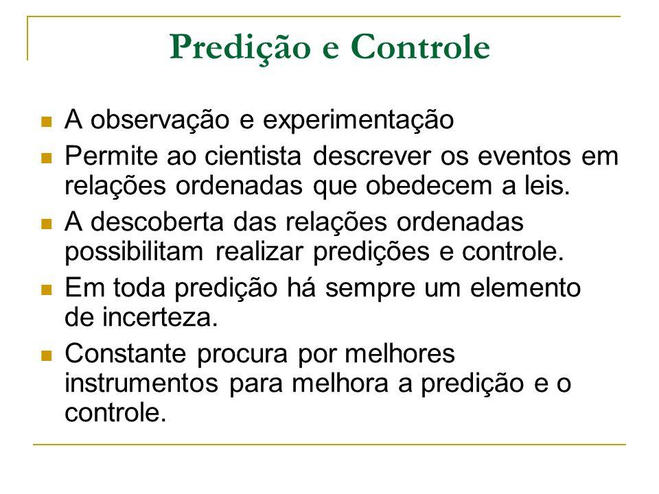 Predição e Controle A observação e experimentação Permite ao cientista descrever os eventos em relações ordenadas que obedecem a leis. A descoberta da
