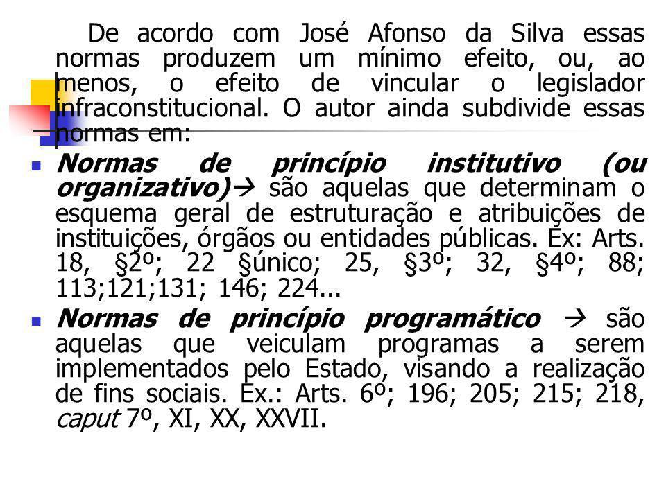 De acordo com José Afonso da Silva essas normas produzem um mínimo efeito, ou, ao menos, o efeito de vincular o legislador infraconstitucional. O auto